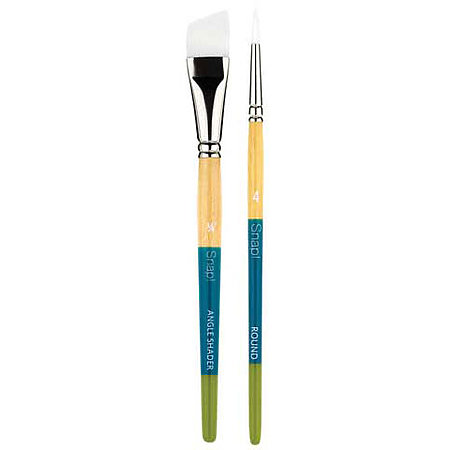 Snap Short Handle White Nylon Taklon Brushes