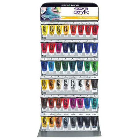 Graduate Acrylics 75ml x6 Shelf Assortment & Display