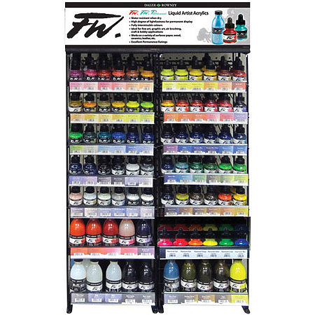 FW Acrylic, Pearlescent & Fluorescent Inks 1 oz. & 6 oz. Shelf Assortment & Display
