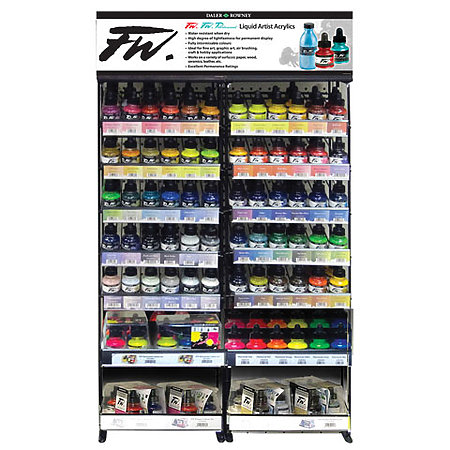FW Acrylic, Pearlescent & Fluorescent 1 oz. Inks & Sets Shelf Assortment & Display