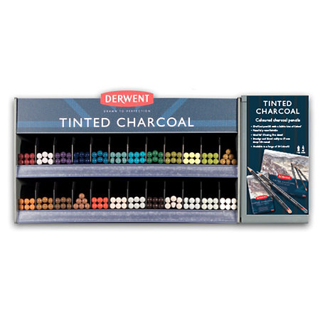 Tinted Charcoal Pencil 24-Color Assortment & Display