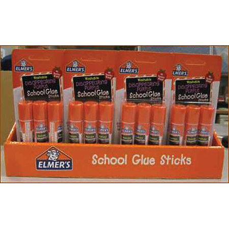 Washable School Glue Stick 3-Packs P.O.P. Display