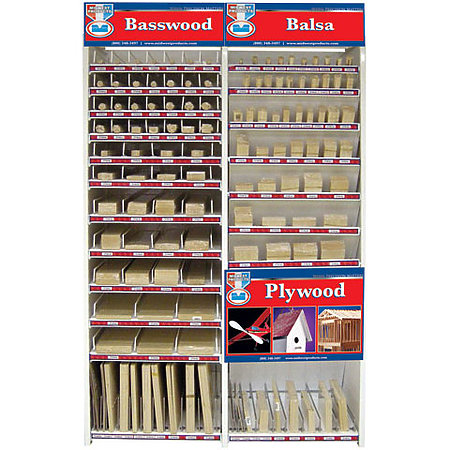 Top-Selling Basswood, Balsa, Plywood, Dowel Assortment & Display