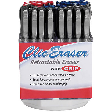 Clic Eraser Grip 5-Dozen Spinner Display