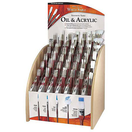 White Sable Long Handle Brush Assortment Display