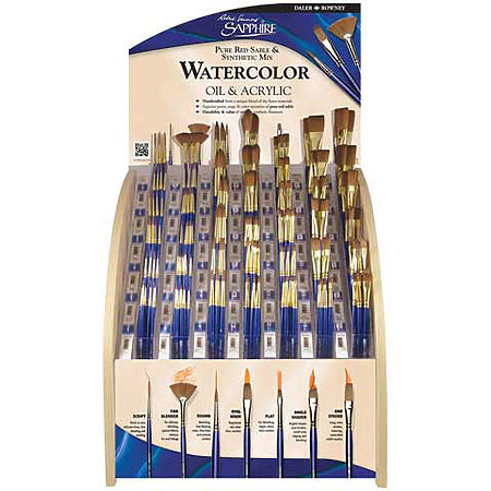 Sapphire Short Handle 180-Brush Assortment Display