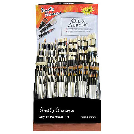Simply Simmons Oil & Acrylic Long Handle Brush Assortment Display