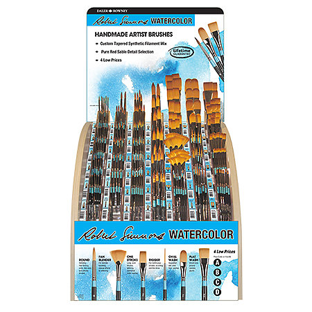 Watercolor Brushes - Short Handle 203-Brush Assortment Display