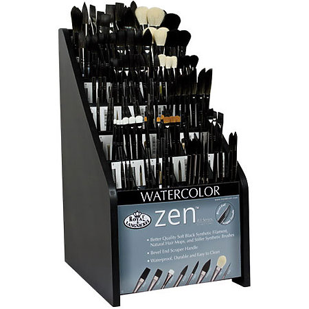 Zen Series 83 Short Handle Synthetic Watercolor Brush with Scraper Assortment Display