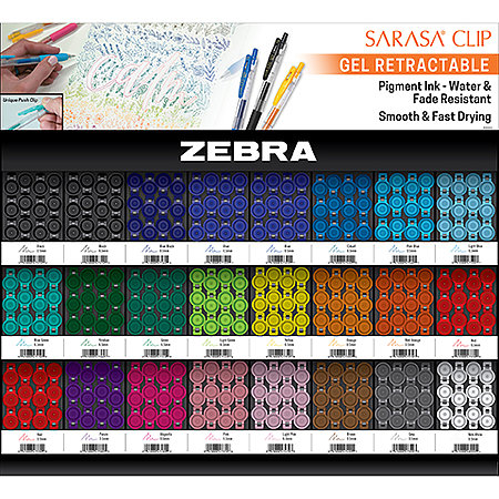 Sarasa Clip Gel Retractable Pens 288-Pen Assortment Display