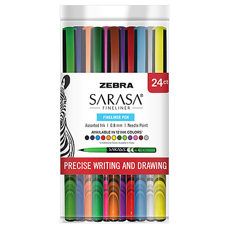 Sarasa Fineliner Pens 24-Pen Cup Assortment Display