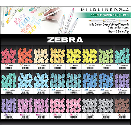 Mildliner Double-Ended Brush Pens 288-Pen Assortment Display