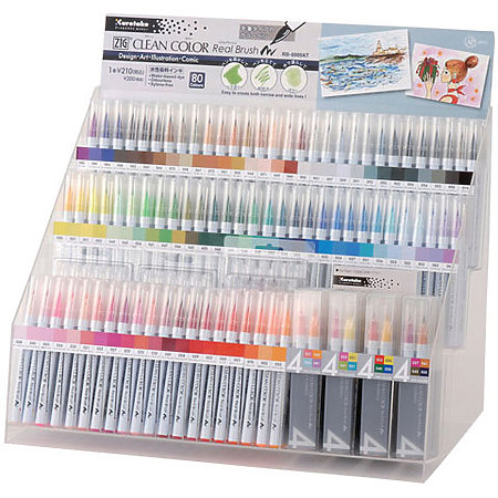 Clean Color Real Brush Marker 80-Color Assortment Display