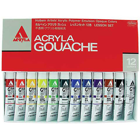 Acryla Gouache 12-Color 20ml Lesson Set