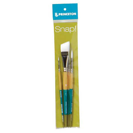Snap Short Handle White Nylon Taklon Brush Set