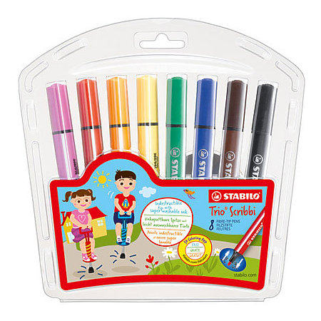Trio Scribbi 8-Color Marker Set