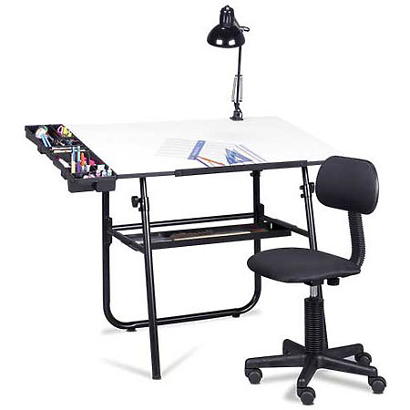 Ultima Drafting Table, Chair, Lamp and Tray Set